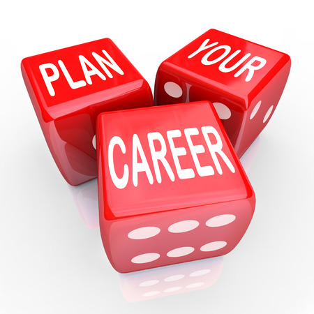 risking: Plan Your Career words on three red dice to illustrate risking it all to compete for greater opportunity in your job or work position Stock Photo