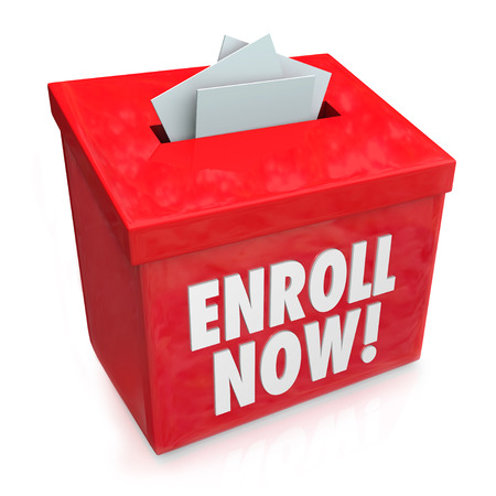 enlisting: Enroll Now words on a red box collecting applications, enrollment, submission or entry forms for a campaign or drive to sign up for benefits or other membership or subscription effort