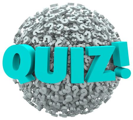 znalost: Kvíz slovo na míč nebo koule otazníků pro ilustraci zkoušení nebo hodnocení své znalosti a dovednosti Reklamní fotografie