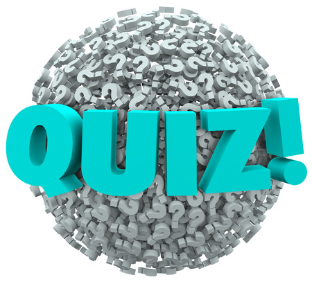trivia: Quiz word on a ball or sphere of question marks to illustrate the testing or evaluation of your knowledge or skills Stock Photo