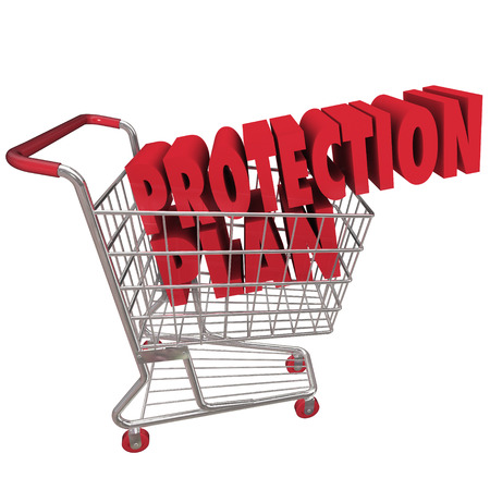 protection plan: Protection Plan words in a shopping cart to illustrate an extended warranty or service plan on a purchase of merchandise you buy from a store or retailer Stock Photo