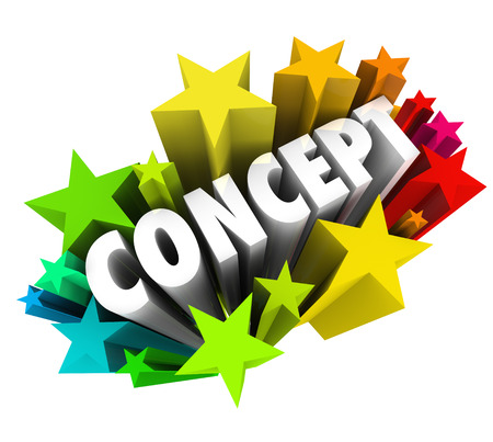 exciting: Concept word in colorful stars or fireworks to illustrate an exciting new idea or innovation that is fun or solves a big problem or challenge Stock Photo