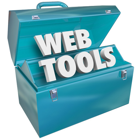 toolbox: Web Tools blue metal toolbox with words in it to illustrate website development, online coding or programming and software engineering to develop an internet or e-commerce site and attract visitors and customers