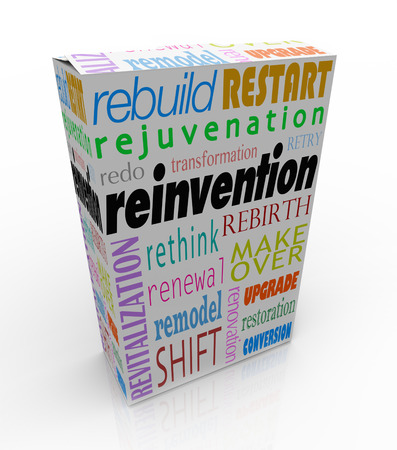 Reinvention words on a product or box or package to illustrate merchandise that has undergone a rebuild, restart, redo, rejuvenation, revitalization, rethink, rebirth, rethink or makeover Фото со стока