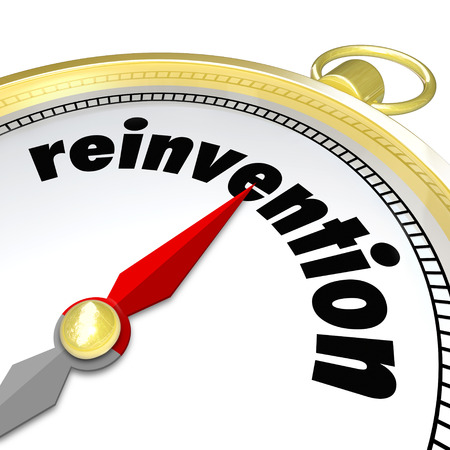 Reinvention word on a gold compass to illustrate the need to renew, rebuild, revitalize or make changes to stay fresh and innovative in a competitive world Stock Photo - 23988843