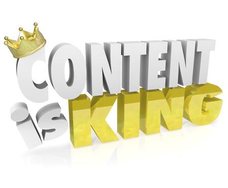 corona de rey: El contenido es rey en palabras letras 3D con corona de oro para ilustrar el valor de los documentos e informaci�n importantes en un sitio web o destino en l�nea