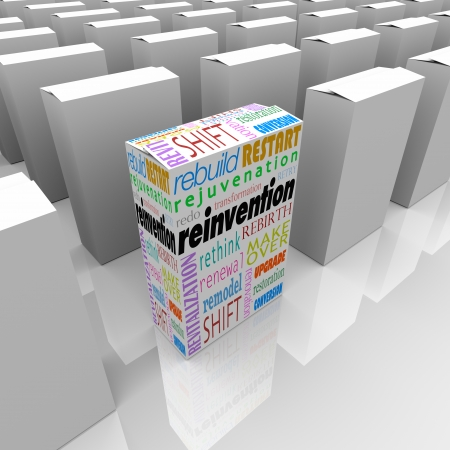 revitalization: Reinvention words on one product, box or package to illustrate the competitive advantage of one business or company that has performed a rebuild, restart, redo, rejuvenation, revitalization, rethink, makeover or rebirth