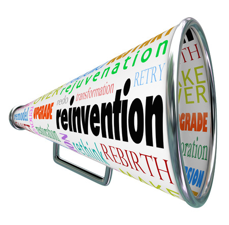 Reinvention and related words like restart, rebuild, redo, retry, revitalize and rejuvenation on a bullhorn or megaphone to symbolize spreading the news of a rebirth or remodel of a product or company Stock Photo - 23988881