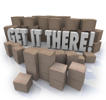mailed: Get It There words surrounded by shipment cardboard boxes to illustrate the importance of getting important packages to their destinations on time with expedited, fast shipping service Stock Photo
