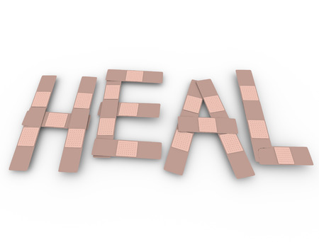 Help word in bandages to illustrate health care, healing an injury and treatment for a traumatic illness or medical problem or emergency