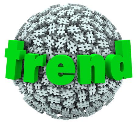 trending: Trend parola su una palla o sfera di hashtag segni di tag o simboli per illustrare un divertente argomento di tendenza corrente o in un meme internet