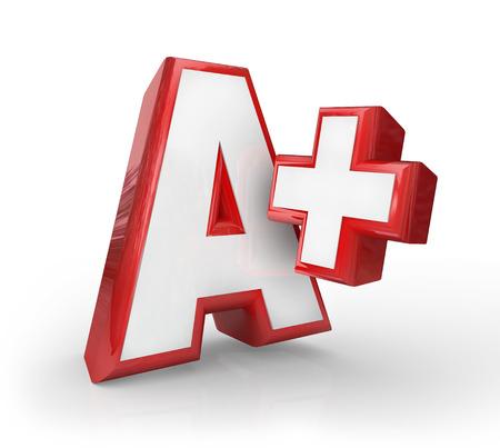 A + Plus Klasse, Bewertung, Score oder Feedback zu Ihrer Leistung oder Test in der Schule oder Prüfung auf Ihrem Job gut gemacht