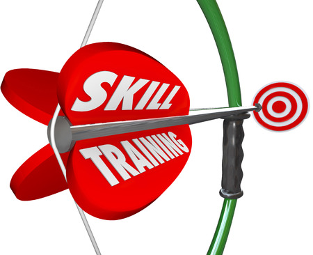 Skill Training words on a bow and arrow to illustrate practice and learning through lessons and education to gain experience and expertise for a job or sport
