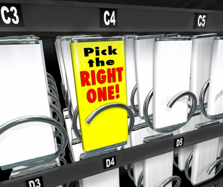 vending: Pick the Right One words on a candy bar wrapper to illustrate the top, ideal, best or perfect product choice, the one with the highest reviews or great feedback or word of mouth Stock Photo