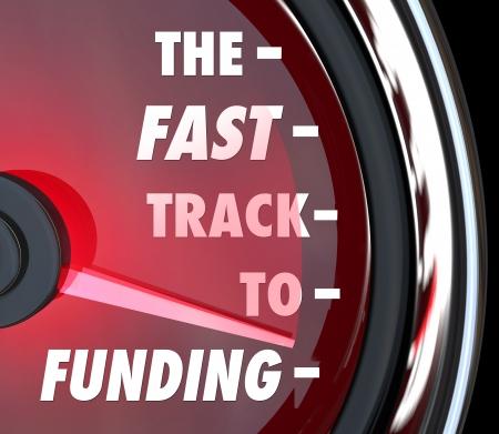 rentable: La V�a R�pida a la financiaci�n de las palabras en un veloc�metro para ilustrar consejos, instrucciones o informaci�n para obtener su negocio, la caridad, sin fines de lucro u otra organizaci�n financiada como una start-up o grupo rentable