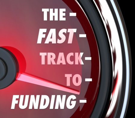 peerless: The Fast Track to Funding words on a speedometer to illustrate advice, instructions or information to get your business, charity, non-profit or other organization funded as a start-up or profitable group Stock Photo