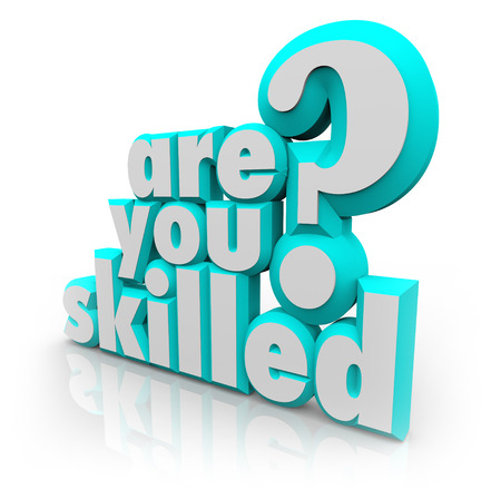 trained: The question Are You Skilled? in 3d letters to ask if youre trained, experienced or have abilities in core areas or disciplines to get a job done in work or a home project Stock Photo