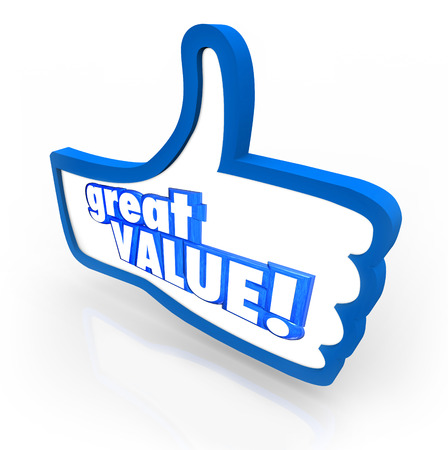 Great Value words on a blue thumbs up symbol to illustrate feedback, review, rating or recommendation for a company or product that has good benefits and low cost Stock Photo
