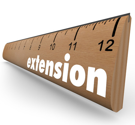 Extension word on ruler to allow an extended period of time or longer length or measuring a wider window of opportunity  Stock Photo - 24087367