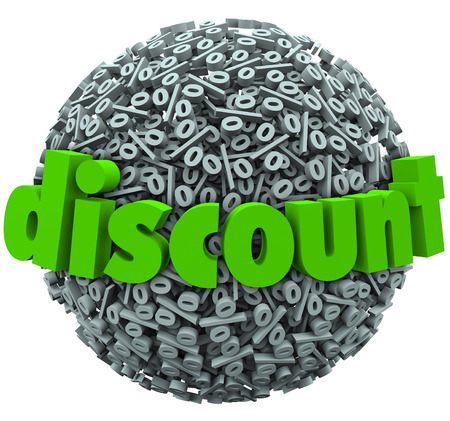 bought: Discount word on percent sign symbol sphere to illustrate a special sale or clearance price