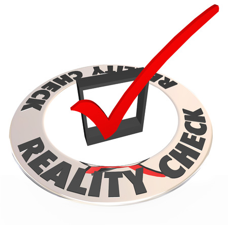 unrealistic: Reality Check words around a checkmark and box to illustrate what is potential, possible and attainable for a goal in work, career and life Stock Photo