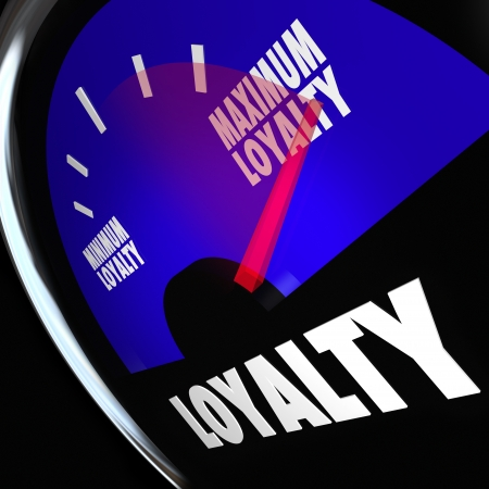 returning: Loyalty word on a fuel gauge to measure the amount or number of customers who are returning and remaining loyal to your product, company or business Stock Photo