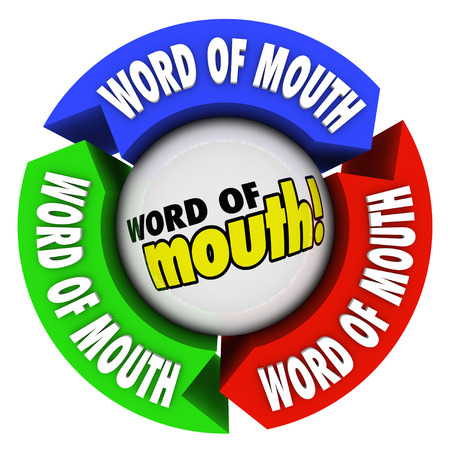 Word of Mouth words on arrows to illustrate spreading news or information or referring more business to your group or company Stok Fotoğraf