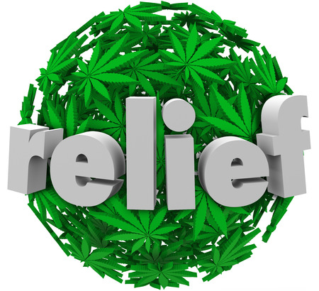 ailment: The word Relief on a ball or sphere of green marijuana leaves to illustrate prescription medical treatment to alleviate pain or discomfort from disease or ailment Stock Photo