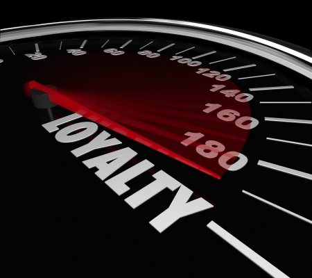 trustworthiness: Loyalty word on a speedometer to illustrate the rate or level of repeat business from customers who are loyal to your company, product or service Stock Photo
