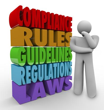 Un hombre pensando, junto a las palabras de cumplimiento, reglas, directrices, normas y leyes para ilustrar las medidas importantes para ser compatible y está aprobado o aceptado en los negocios