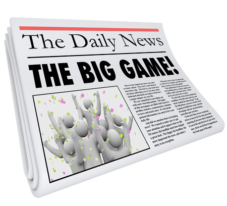 newspaper headline: The Big Game newspaper headline sporting event competition result in a sports news update Stock Photo
