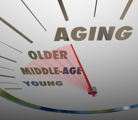 traveled: Aging word on a speedometer with needle racing past Young, Middle-Age and Older to illustrate fast advancement of time and years in life