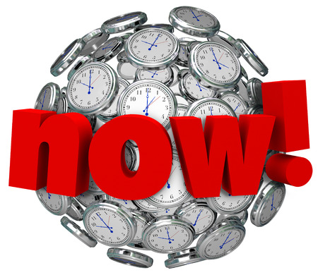 Now word on a sphere or ball of clocks to illustrate a need for urgent emergency action before a countdown or deadline photo