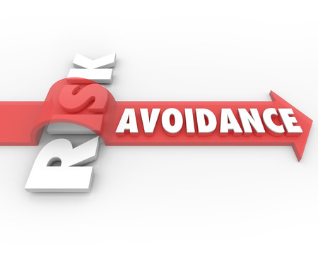Risk Avoidance arrow jumping over danger or risky trouble or problem to illustrate management or minimizing of potential liability or chance of loss Stock Photo - 24272572