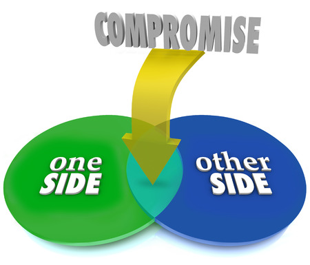 compromising: A venn diagram showing two opposing sides overlapping to illustrate an agreement, settlement or negotation to resolve differences