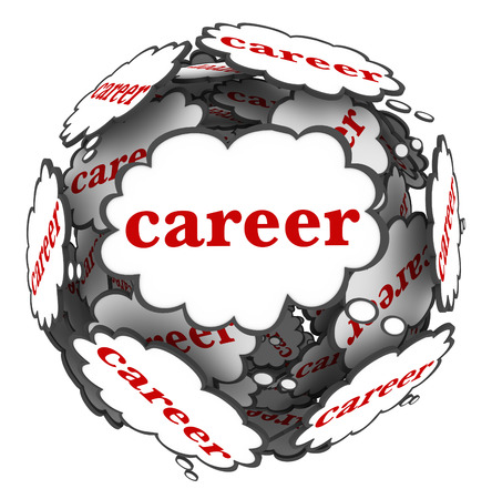 Career word in thought clouds in a sphere or ball to illustrate thinking of and planning your job opportunity paths for a successful path and future photo