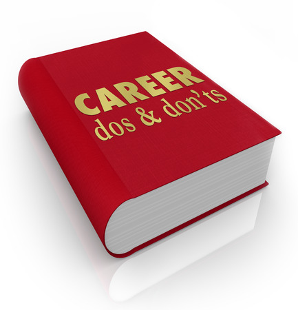 Career Dos And Donts Book Cover To Illustrate A Manual Of Advice