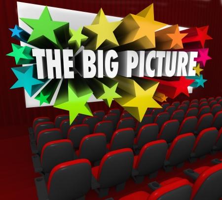 perceive: Le parole 3d Big Picture che esce da uno schermo cinematografico per illustrare l'idea, pensiero o un concetto da una prospettiva unica o visione