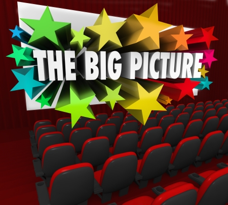 feature films: The Big Picture 3d words coming out of a movie theatre screen to illustrate an idea, thought or concept from a unique perspective or vision