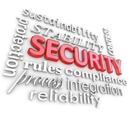 Security 3d words to illustrate information technology concepts and concerns for people working in the i.t. field in maintaining or administrating business networks