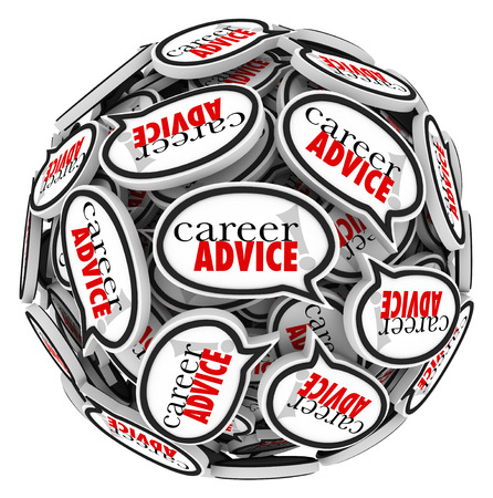 fulfilling: Career Advice words in speech bubbles arranged in a ball or sphere to illustrate tips or instruction for seeking employment or work that is fulfilling and rewarding