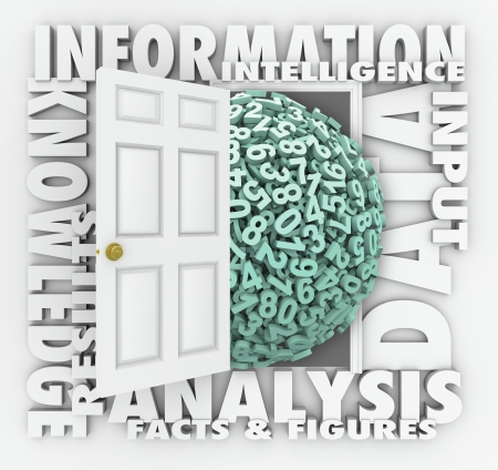 information analysis: Data door opening to reveal numbers and figures surrounded by words Information, Analysis, Facts and Figures, Insight and Input