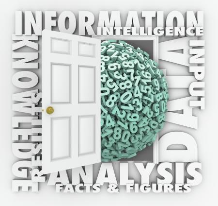 Gegevens deur naar cijfers en letters omgeven door woorden Information, Analyse, feiten en cijfers, Insight en Input onthullen