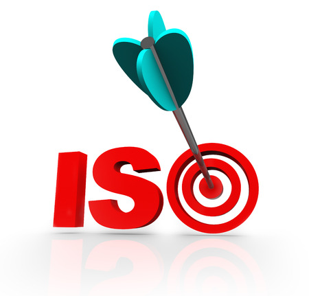 ISO word or acronym with a target in a bulls-eye to illustrate a company has made it a goal to be certified as meeting the standards of the international organization certifying quality management Imagens