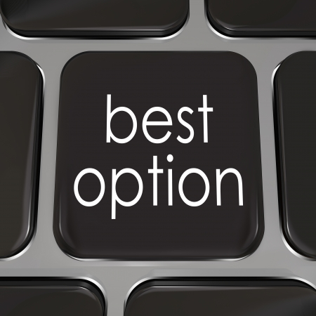 option key: Best Option  words on black computer keyboard key to illustrate the top opportunity or choice on the internet or web site Stock Photo