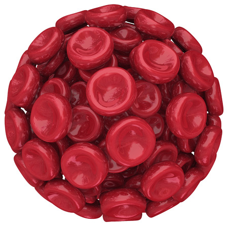 bloodcell: Red blood cells in a cluster, ball or sphere illustrating health care, medical research, treatment for disease or condition such as AIDS or hemophilia Stock Photo
