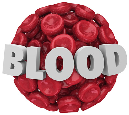The word Blood in 3d letters on a sphere, cluster or clot of red blood cells to illustrate a medical condition or urge you to donate the gift of life in a drive photo