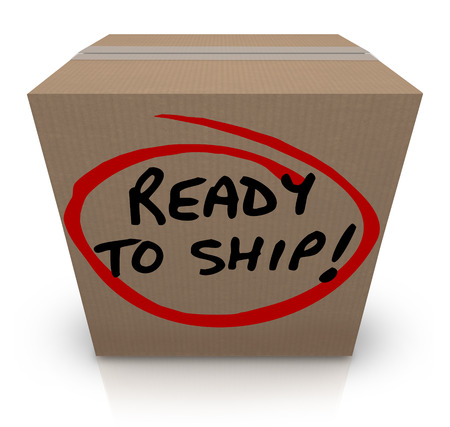 sent: Ready to Ship words on a cardboard box to illustrate a product or goods that are in stock and prepared to be sent or delivered to a buyer or customer