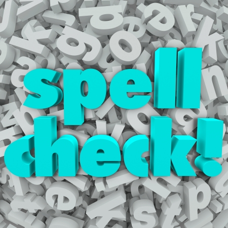 Spell Check words on a background of 3d letters to illustrate software, application or program that will review your writing to indicate if there are spelling errors or if everything is correct 스톡 콘텐츠