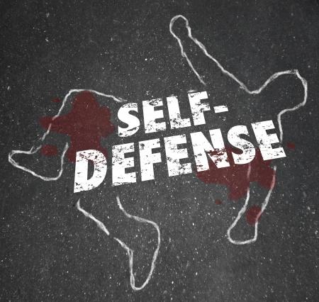 defensa personal: Palabras de Autodefensa en un esquema de tiza de un cadáver o de la víctima para ilustrar la necesidad de defenderse de un ataque violento
